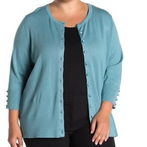 GRACE ELEMENTS KNIT CARDIGAN IN AZURE